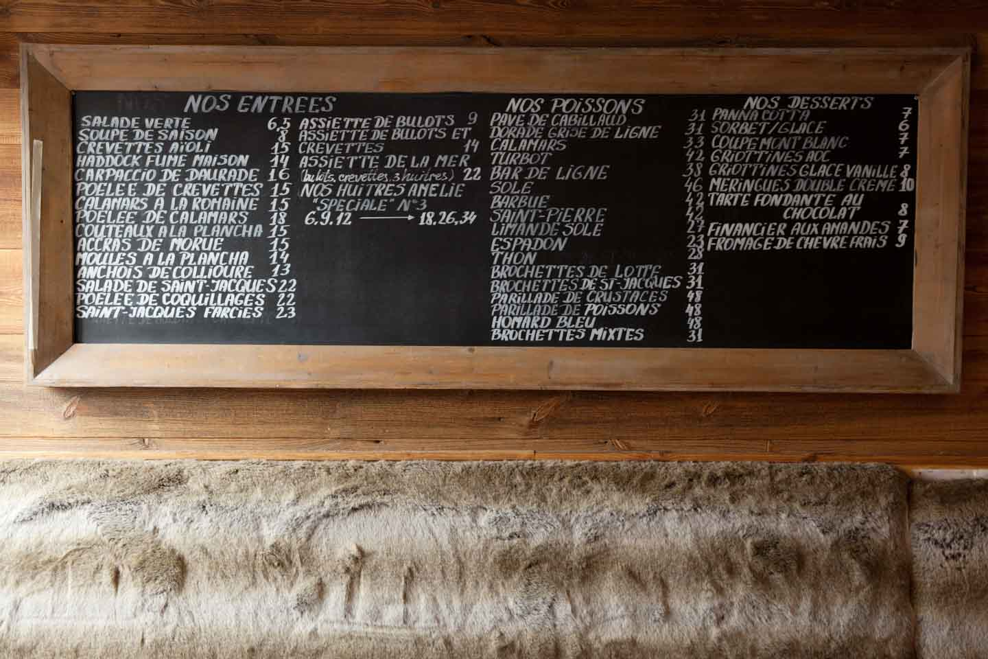 Description des menus